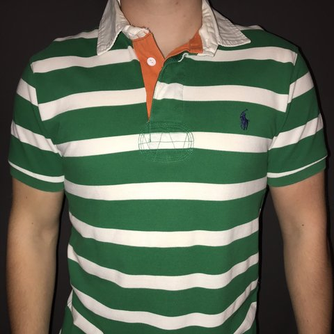 fe362feb @wdclothing. 9 months ago. Sleaford, United Kingdom. Green and white striped  polo Ralph Lauren polo shirt with orange lining. Model size - medium