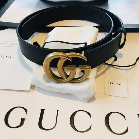 f2db7250499 Gucci GG Marmont Double G Black Leather Belt. 2cm