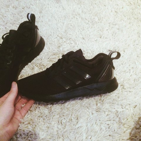 0d6edcd5d Almost new Black Adidas ZX Flux trainers in size 5. Only for - Depop