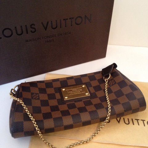 10132967e090 Louis Vuitton Damier Ebene Eva Clutch with strap. Only used - Depop
