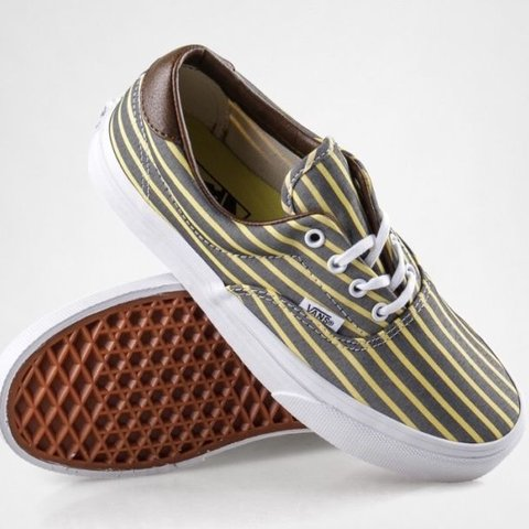 b44033bd4a Vans vintage grey and yellow striped shoes - bought for £65 - Depop