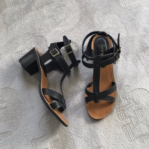 b7200a27d20 Bamboo Black Strappy Heeled Sandals Extremely comfortable