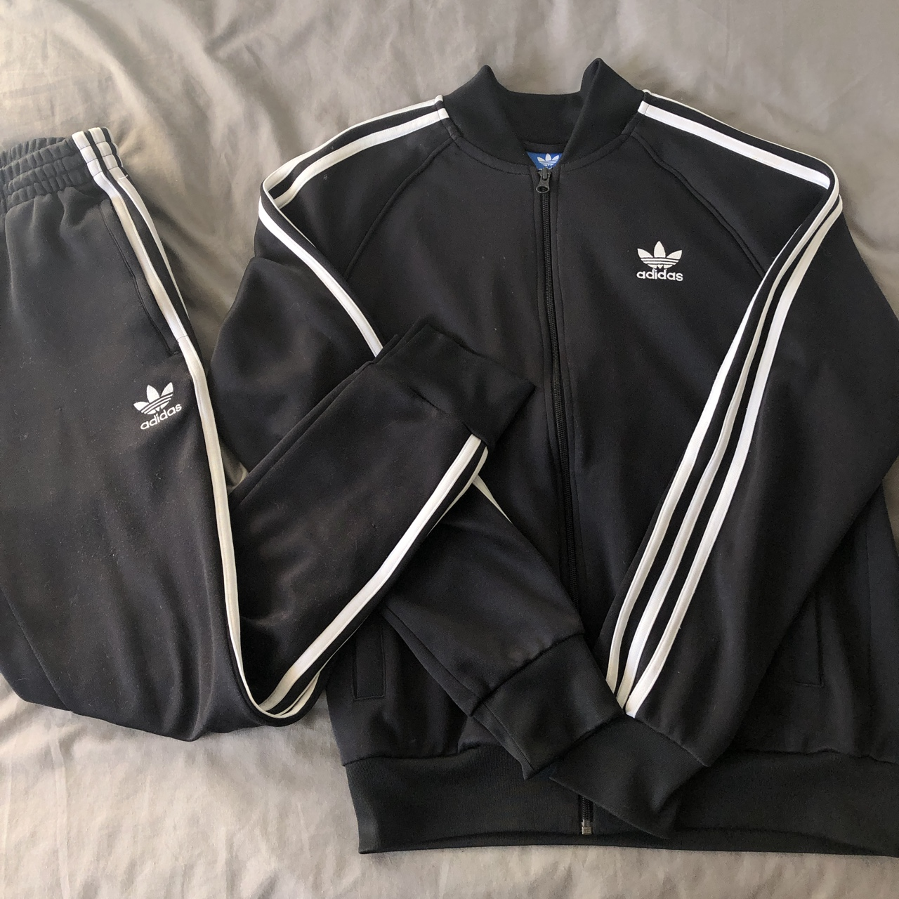 Adidas Original Black Three Strip Tracksuit Track Depop