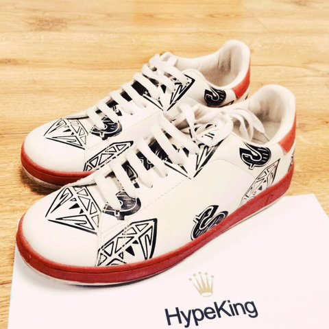 Bbc Ice Cream Diamond Trainers In White Red Uk6 But Fit More Depop d088a497b