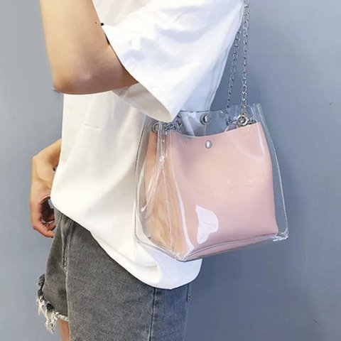 a60207ea6dd70b Fab mini PVC shoulder bag with pink faux leather inner pouch - Depop