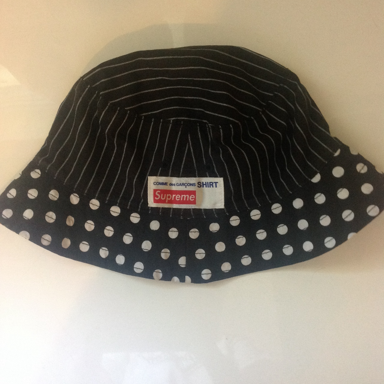 581d11b5a61 Supreme x comme des garcons bucket hat size s   m black dot. - Depop