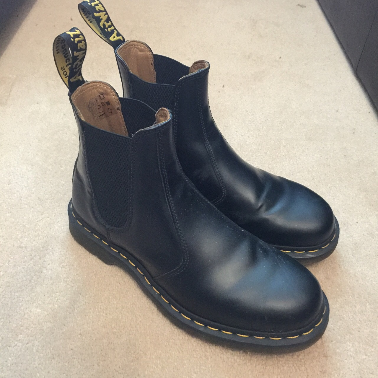 Dr martens 2976 Chelsea boot, black with yellow Depop