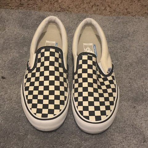 Vans slip on pro! Black and white Checkerboard never size - Depop d8df0e7e1