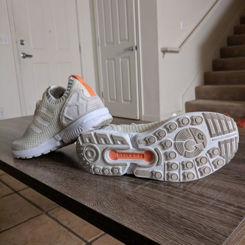 f9656eb7601aa Adidas ZX Flux White Primeknit Sneakers   REDUCED adidas 4 - Depop