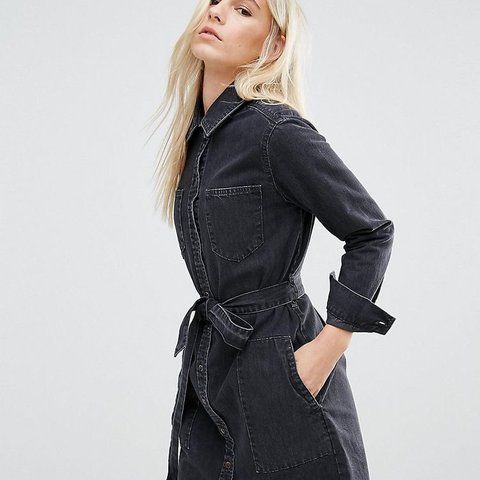 c34884bec96 ASOS petite denim belted shirt dress in washed black size 10 - Depop