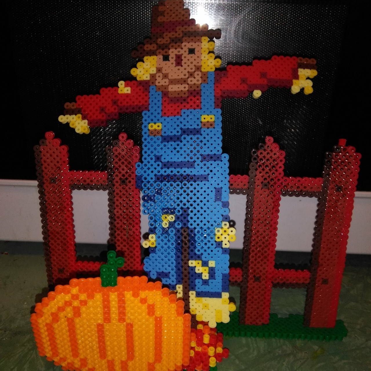 Handmade Scarecrow With Wooden Picket Fence And Depop