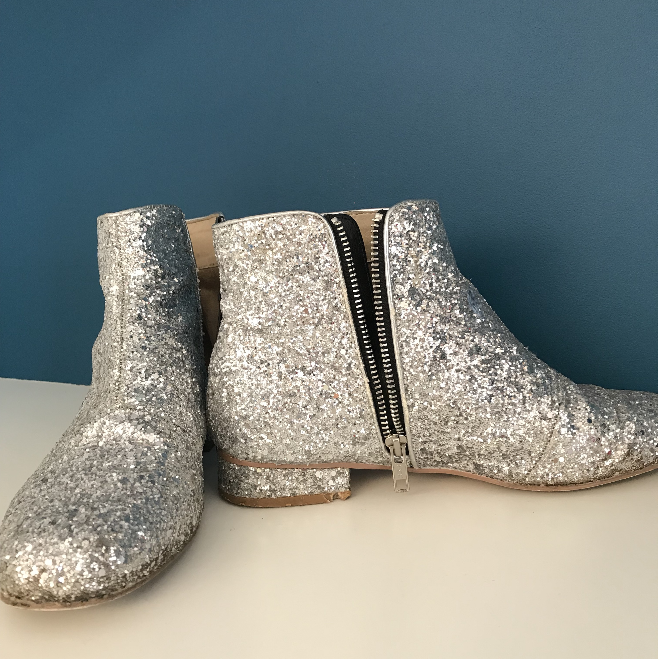 Silver sparkly glitter ankle boots UK 6