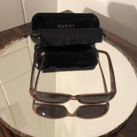 ac51b141e0 Vintage GUCCI 90s sunglasses Oval Brown with case and cloth - Depop