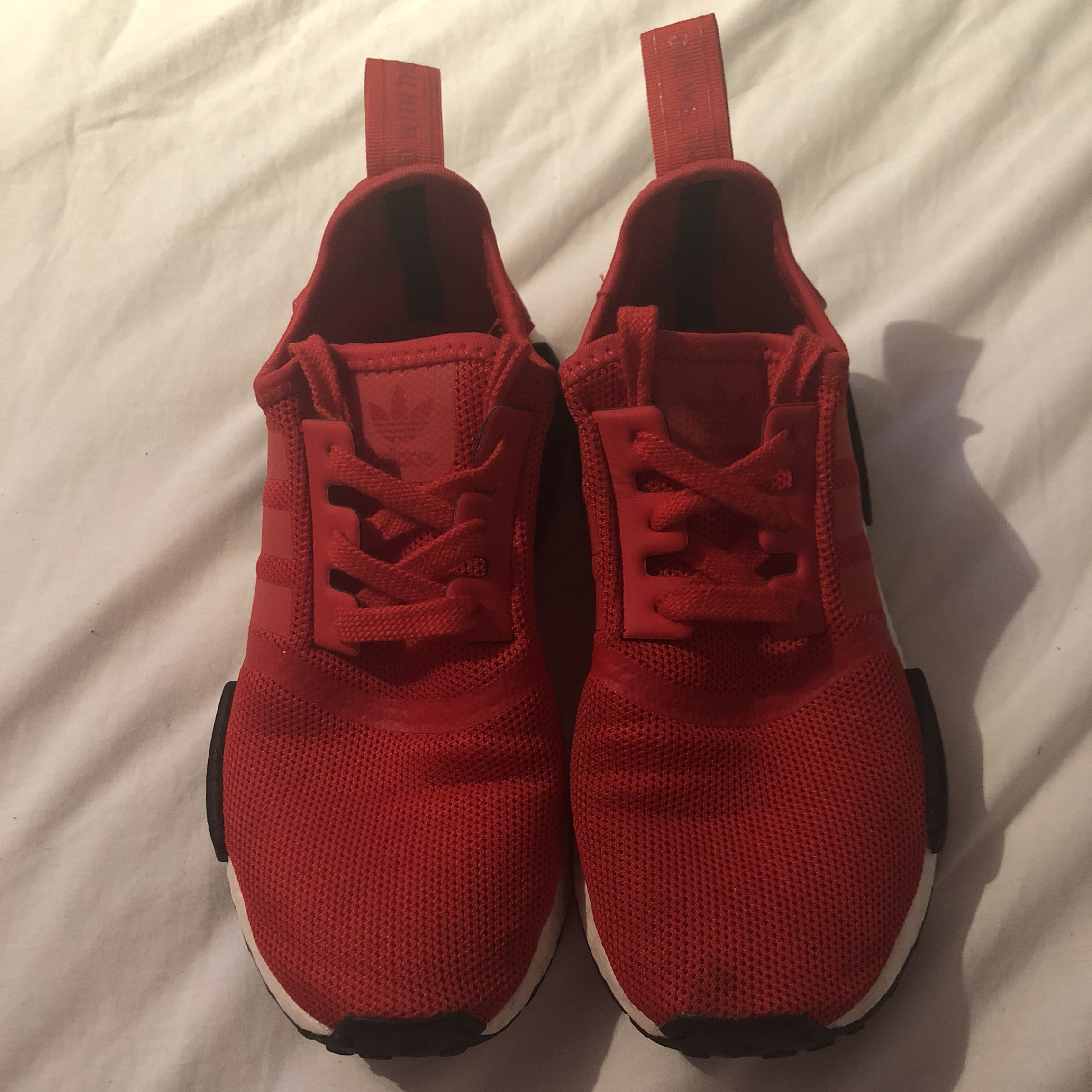 outlet store 11d4d ac138 adidas originals nmd r1, red black and white. worn... - Depop