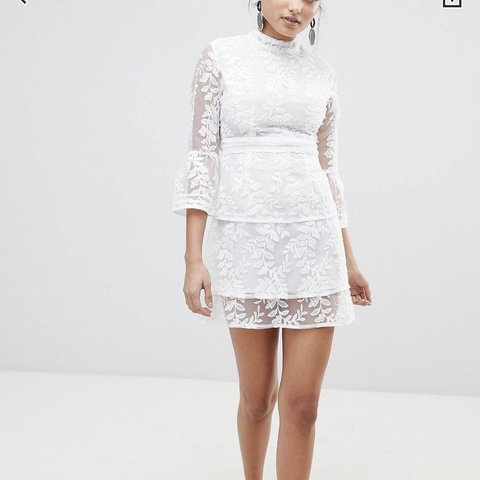 5a3650c82a66 @carrie_697. 8 months ago. Manchester, United Kingdom. Boohoo white  embroidered mesh tiered lace dress