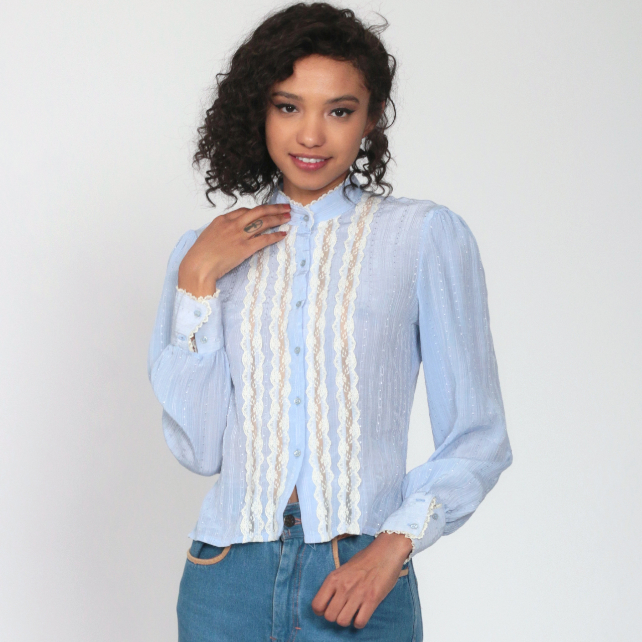 Sheer Victorian Baby Blue Blouse 1970/'s