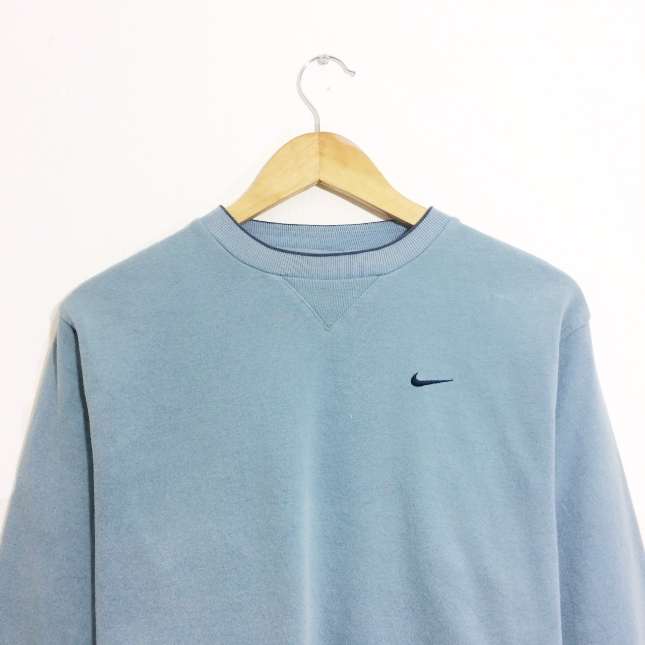 Retro 90's Nike sweater in baby blue with small logo Depop