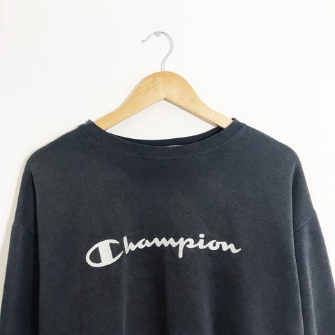 a98df582351 Retro 90 s champion sweater in grey   faded black with large - Depop