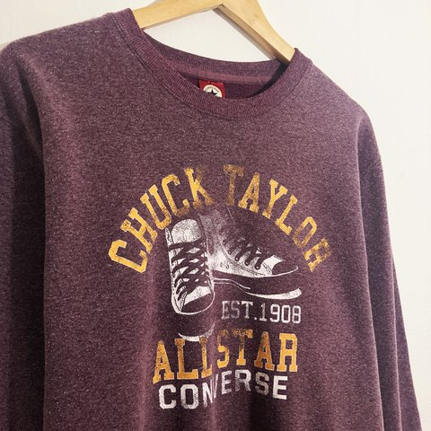 dd03077d30d61d Vintage converse sweatshirt in burgundy with large logo