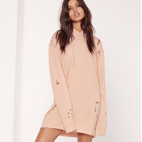 2c71c8a2317 Missguided nude pink hooded sweater dress. Oversized shape. - Depop