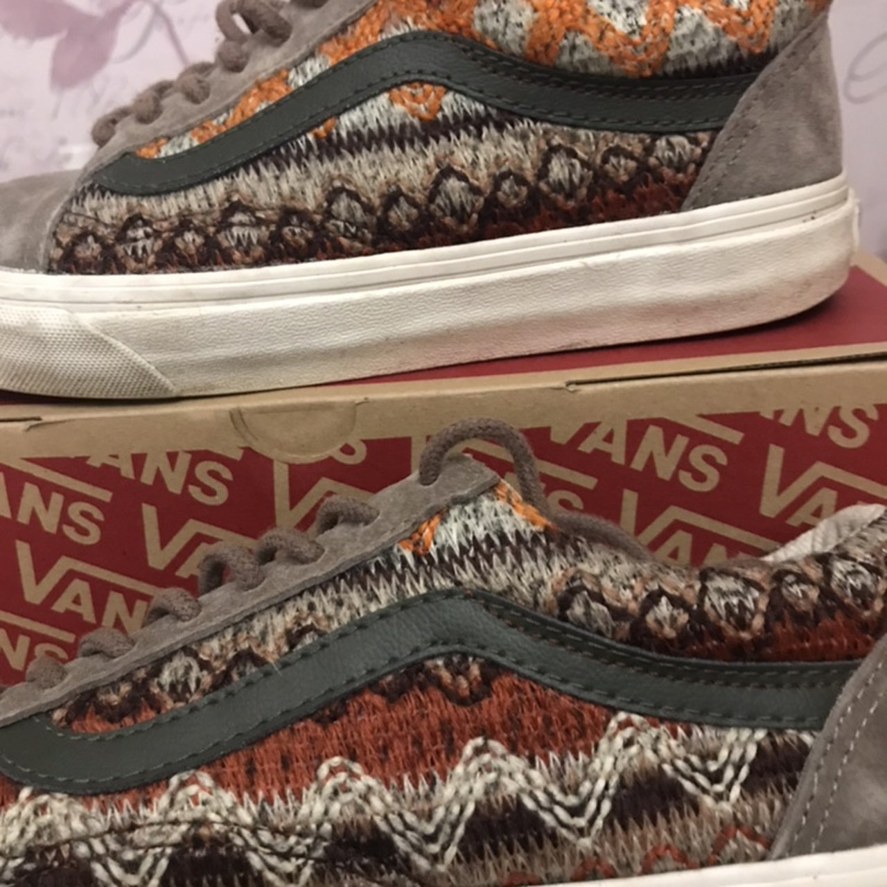 Limited Edition beige suede and knitted colour Vans. Worn in - Depop 7f3761acd