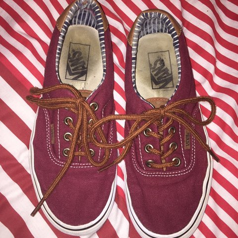 23fee2fadb maroon burgundy vans authentics with brown laces and sides a - Depop