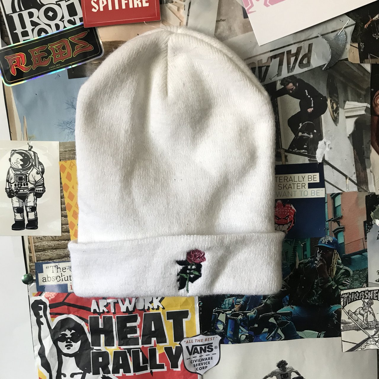 912d4139974fd FREE SHIPPING. White primitive beanie. Never worn Tags  - Depop