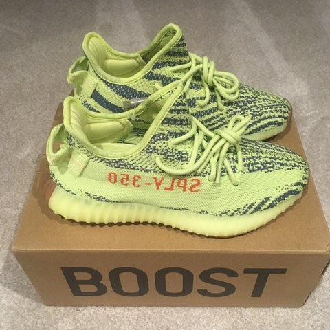 aedcfa30436 Adidas Yeezy Boost 350 V2  Semi Frozen Yellow  Size UK 6.5 - Depop