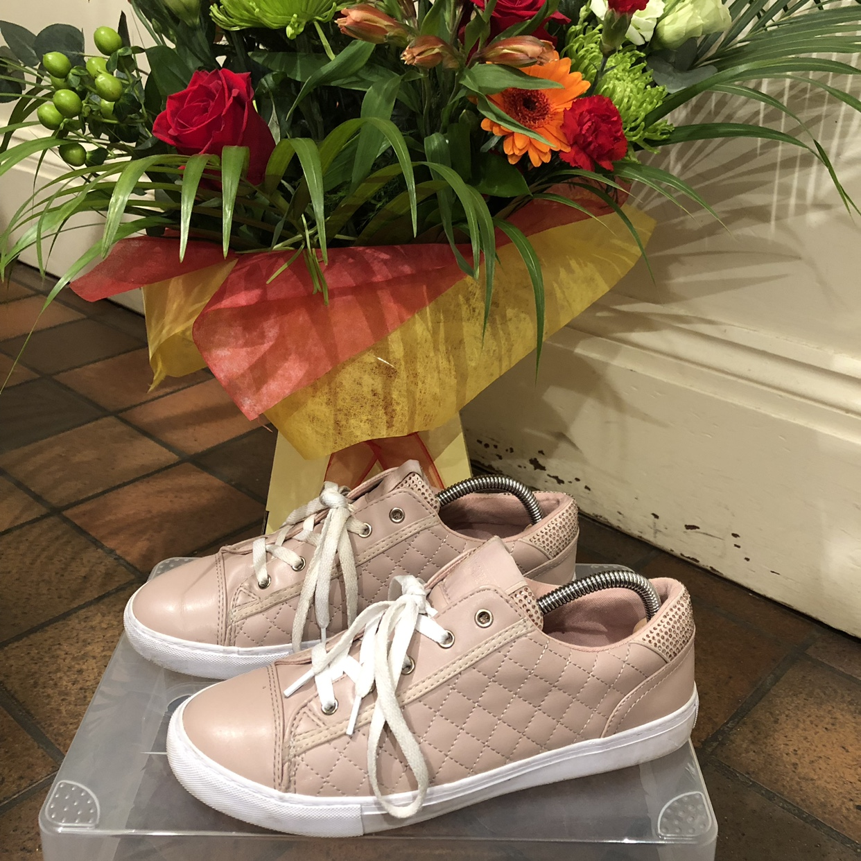 Designer Guess pink trainers with