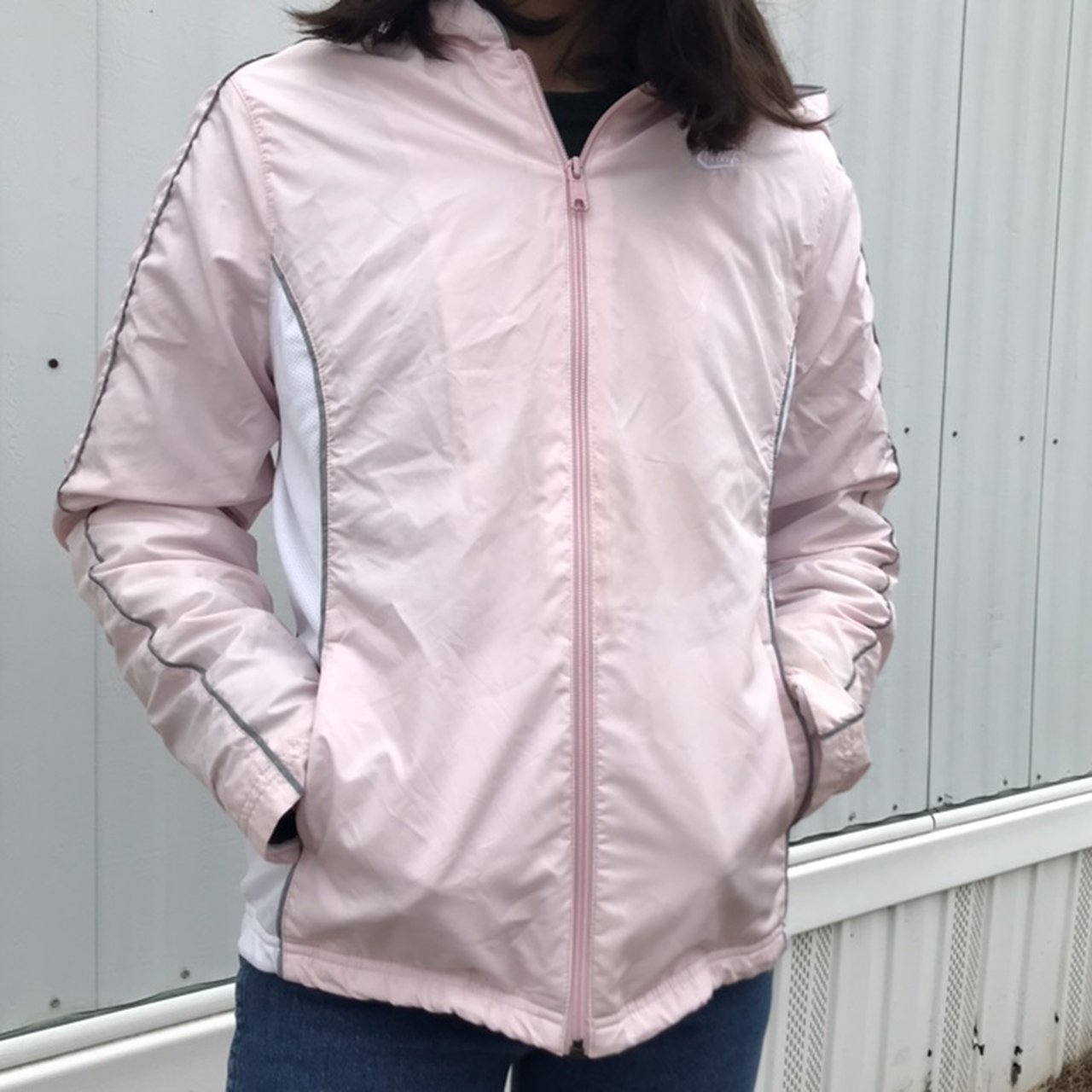 Nike baby pink windbreaker Light stain in the front of in M - Depop 0ece5e0bc