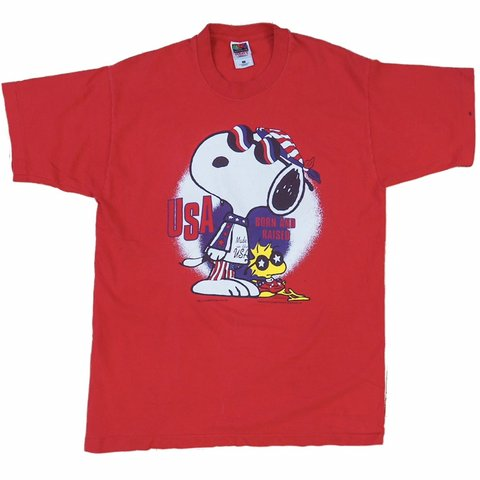 9eefc771 @phantomphuego. 9 days ago. Eau Claire, United States. 📦FREE SHIPPING📦 Vintage  90s Peanuts Snoopy & Woodstock USA Single Stitch Basic Red T-shirt ...