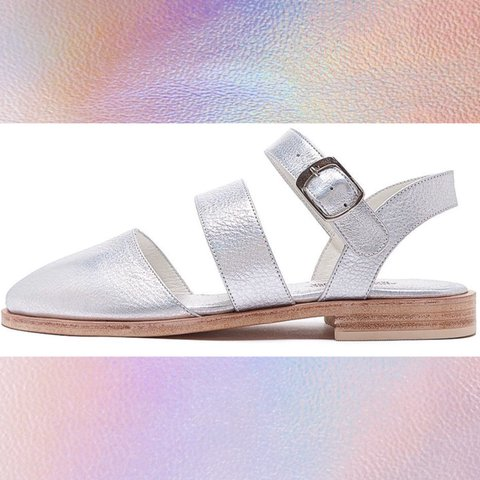 3b61ebe13f5459 Holographic American Apparel Beverly Sandals. Worn gently or - Depop