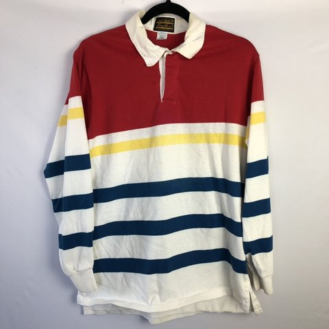 59e24989643 @thriftstarsbest. 3 months ago. Coon Rapids, United States. Vintage 80s/90s  Multicolor Striped Eddie Bauer Rugby Longsleeve Shirt