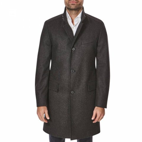 d4291e0a2 Hugo Boss Charcoal Cashmere Wool Sintrax Winter Coat Jacket - Depop