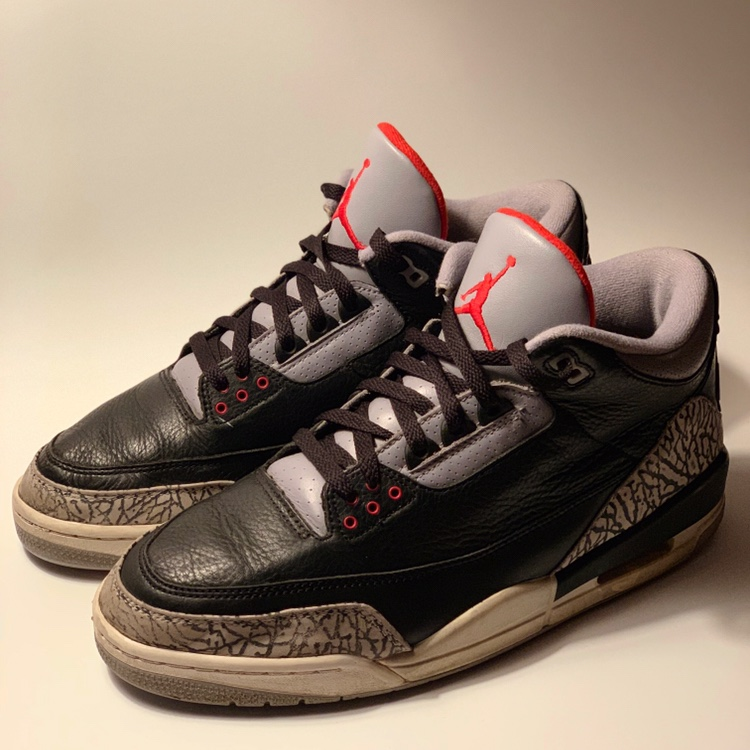 official photos 3e862 495ec 2001 Jordan 3 'Black Cement' Size: 12 Condition:... - Depop