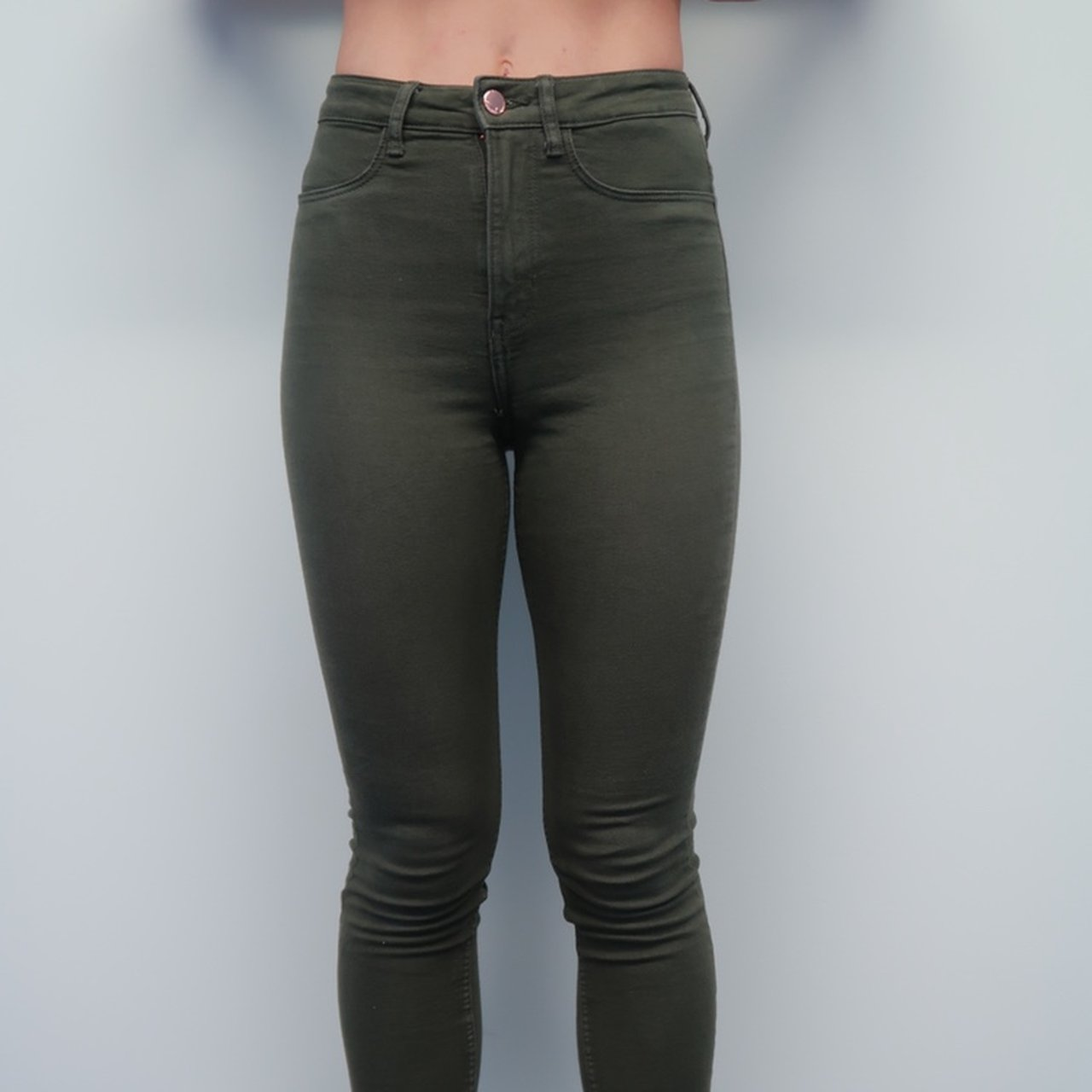 d45d8111605b @chrissyorch. 6 days ago. London, United Kingdom. H&M green high-waisted  skinny jeans. Good condition.
