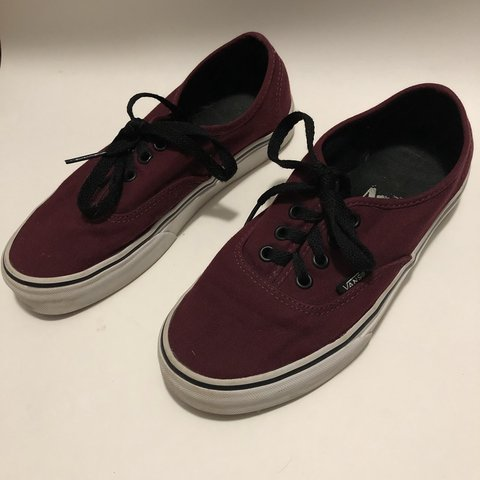 02f29113329ed4 Low top Maroon Vans w black laces -Probably only worn 5 so - Depop