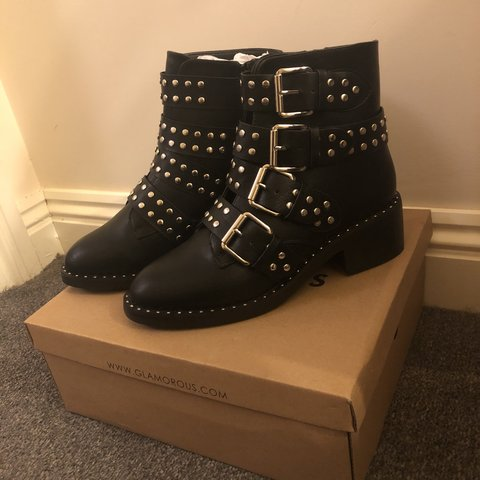 c3d6bed07024 Glamorous black studded buckle flat ankle boots. Never - Depop
