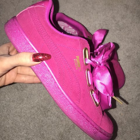 770d023e4ce1 Puma Basket heart suede in pink. Great condition Ignore out - Depop