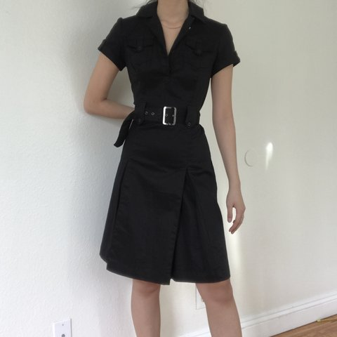 e0e5a0692 BELTED BLACK DRESS. Black utility style dress with matching - Depop