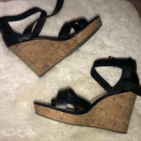 1900cb9a20cf ADORABLE black strappy wedges from forever 21! Worn only a - Depop