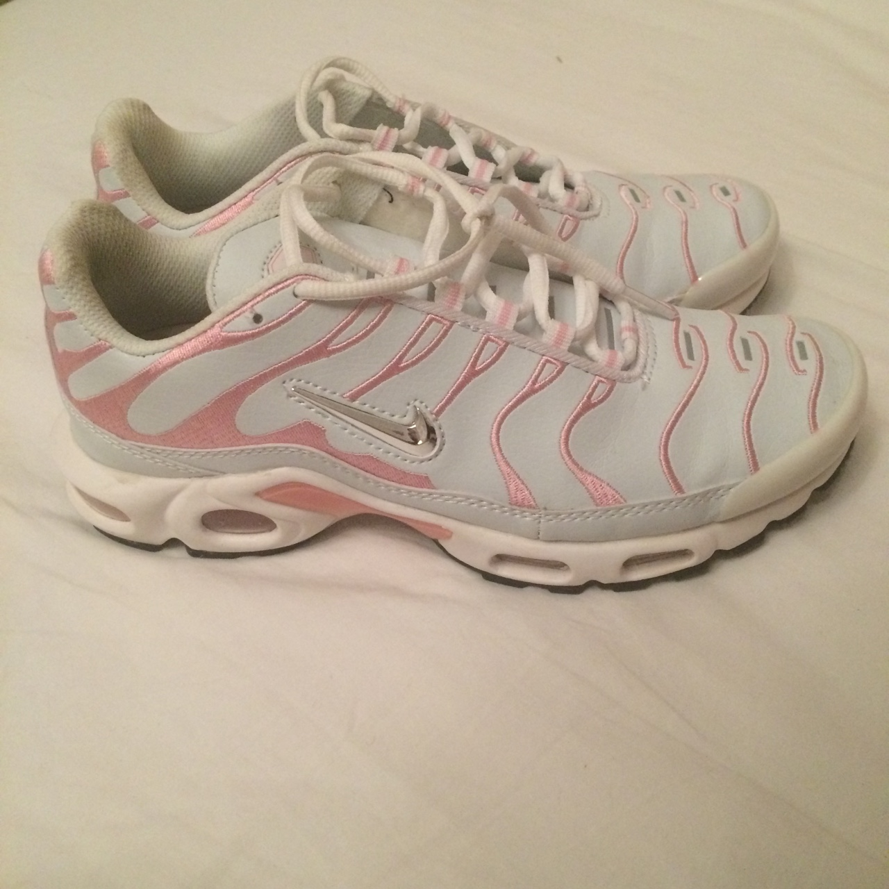 info for dc94e 5ae35 Pink and white Nike air max plus Tn tuned tns size... - Depop