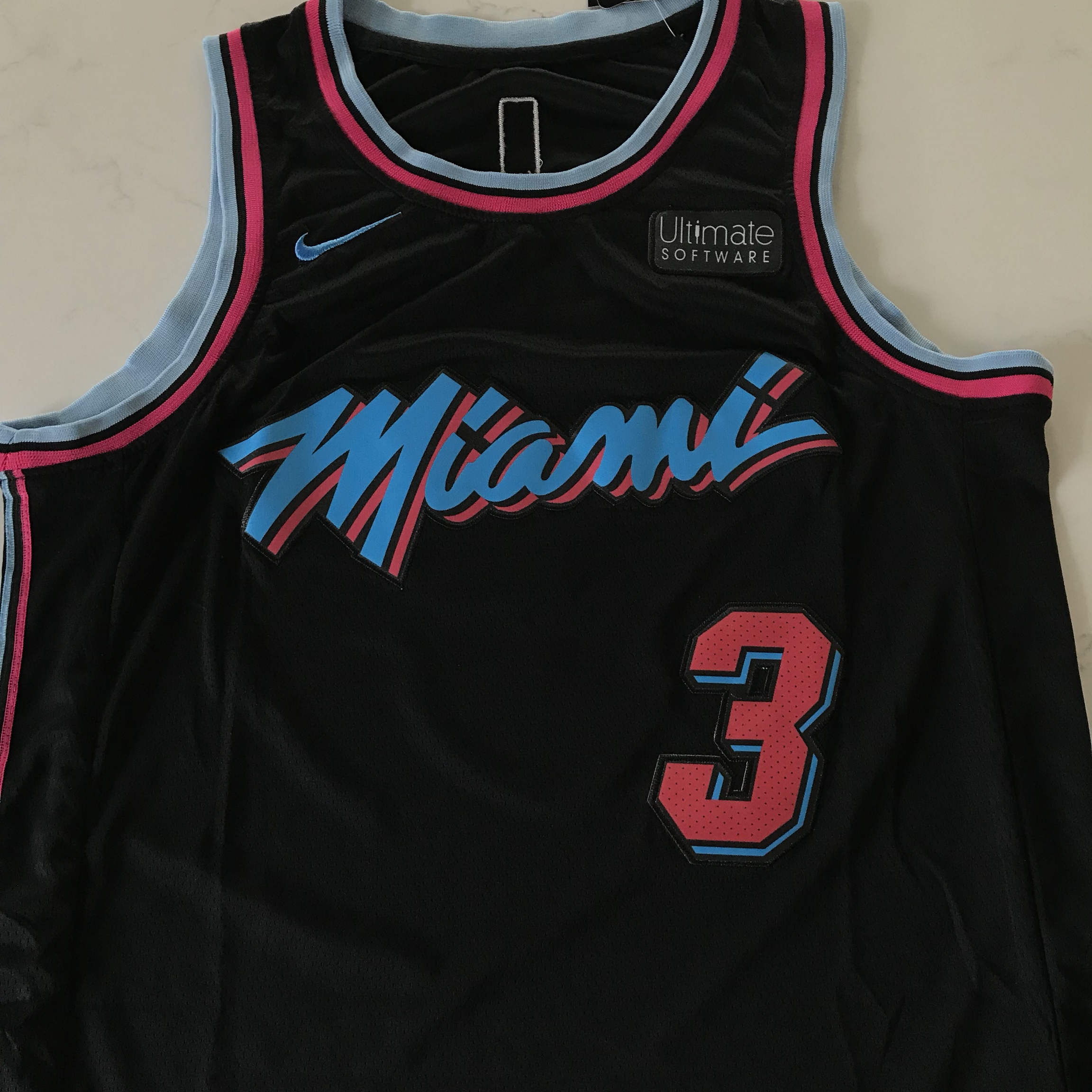 finest selection 42278 44baf Dwyane Wade Miami Vice Heat Black Jersey New Nike... - Depop