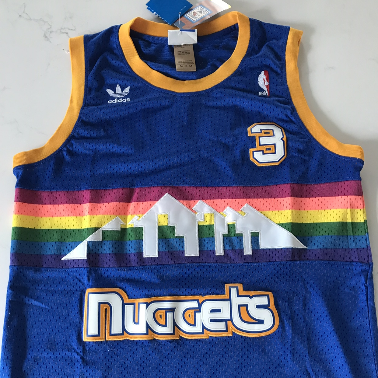 buy online 95f1a d3441 Allen Iverson Denver Nuggets Blue Rainbow Throwback ...