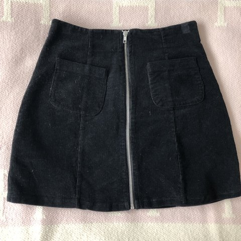 bb86992666 @allegrabrooke. 7 days ago. Greenwich, United States. Brandy Melville Black  Corduroy silver zip up skirt ...