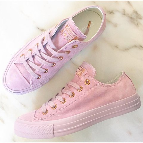 16cae0fdd1fa Converse pink suede rose gold trainers Size 6 39 Perfect - Depop