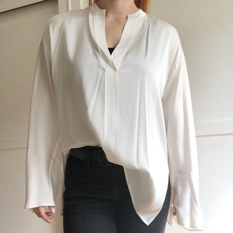 6adef0922ba96 Vince. White - silk blouse - bell sleeves - pop over style - - Depop