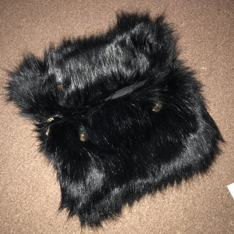Missguided black fluffy faux fur clutch with detachable gold - Depop 84621226834ba