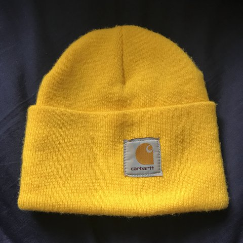 Carhartt x Michigan bright yellow beanie hat • only worn - Depop 0eed5dc4fb7