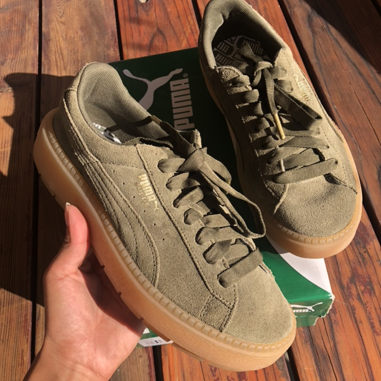 new product 55fc6 cf9a7 Fenty puma trace creepers in olive green,... - Depop